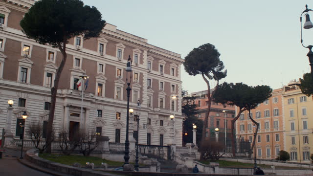 Early morning view of the Palazzo del Viminale, the historic palace seat of the Ministry of Interior, Rome