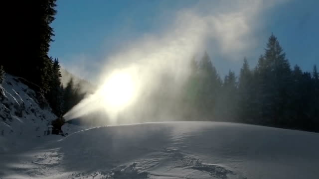 Early Season Snow Making on Ski Slope, SLOW MOTION video