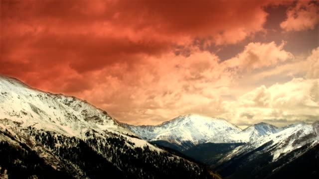 Early Winter Colorado Mountains Snow Sunset Clouds Skiing Timelapse LOOP! video