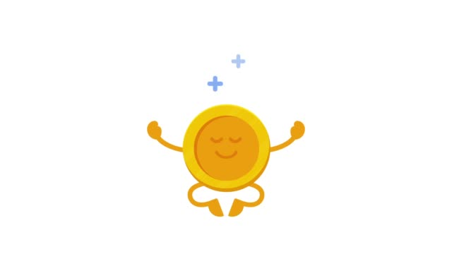 verdienen sie geld online. eine lustige münze schwebt in einer yoga-pose. börse. 2d-bewegungsanimation. flaches design - meditation icon stock-videos und b-roll-filmmaterial