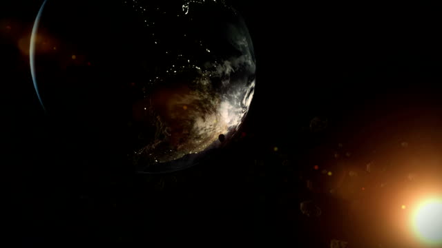earth and asteroids in space video