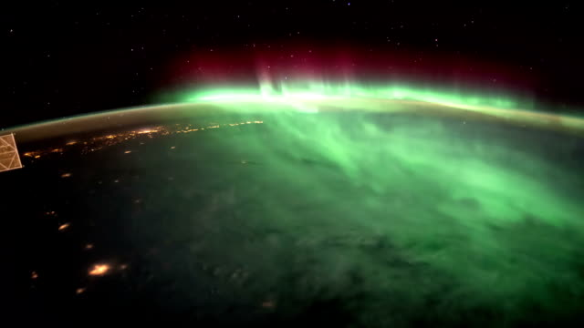 Earth and Aurora Borealis from ISS. Elements of this video furnished by NASA. video