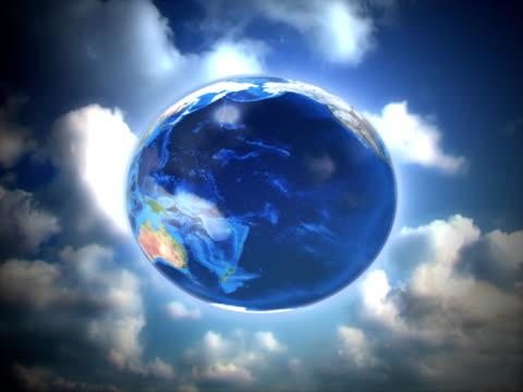 지구별 및 블루 클라우드 루프 - 클립 길이 스톡 비디오 및 b-롤 화면