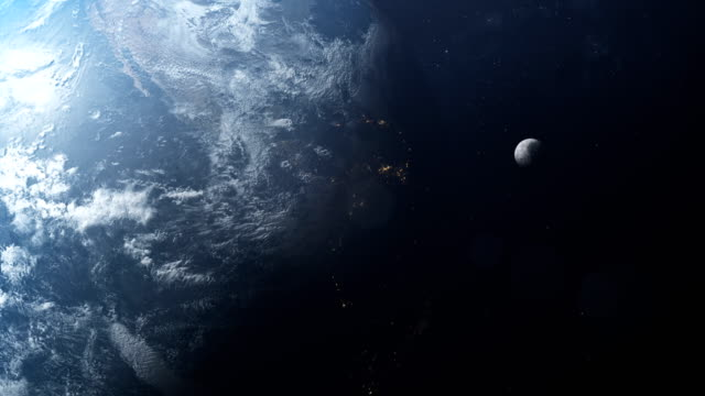 earth and moon seen from space. nasa public domain imagery - księżyc filmów i materiałów b-roll