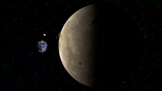 earth and moon with a comet video