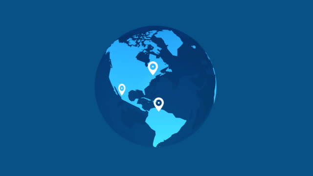 earth animation white pins location on blue background