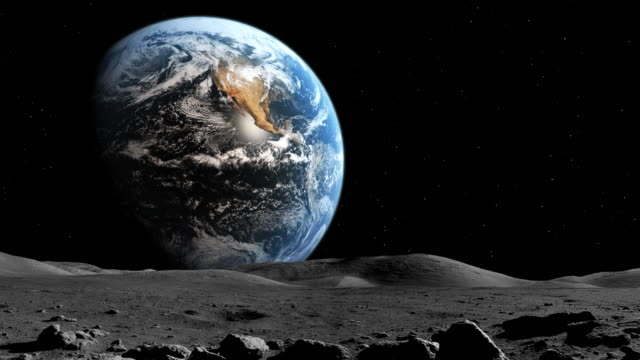 Earth as viewed from the moon's surface Earth as viewed from the moon's surface. moon stock videos & royalty-free footage
