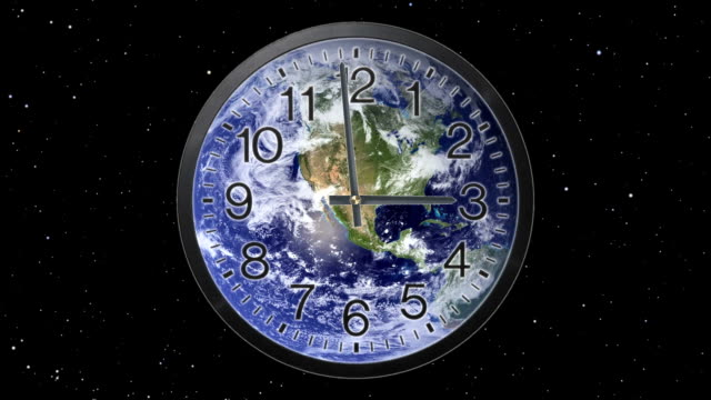 Earth Clock Time Lapse Clock with earth background.  Twelve hour time lapse in twelve seconds. midday stock videos & royalty-free footage
