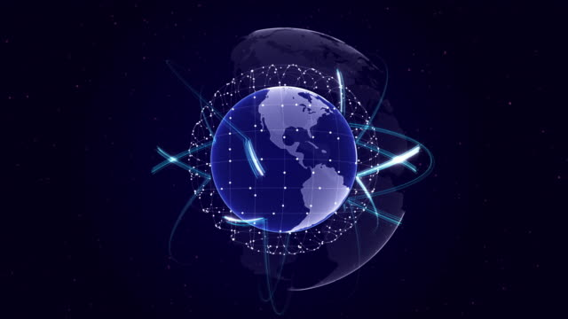 Earth, Connection Network Concept, Loop video