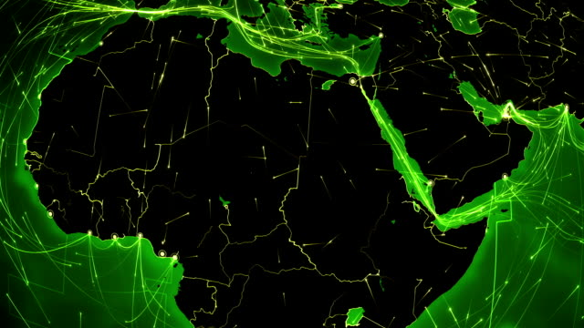 Earth connections. Africa. Aerial, maritime, ground routes and country borders. video