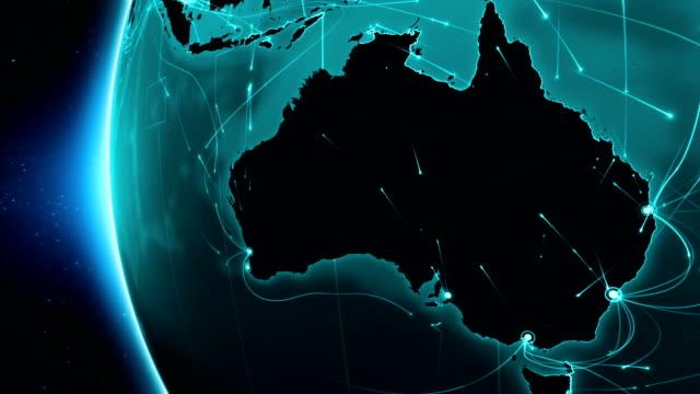 erde verbindungen. australien. aerial, maritim, boden routen und land grenzen. - kartographie stock-videos und b-roll-filmmaterial