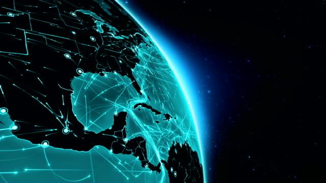 stockvideo's en b-roll-footage met verbindingen van de aarde. midden-amerika. antenne, maritieme, gemalen routes/landsgrenzen. - roadmap