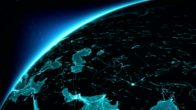 Earth connections. Europe-Asia. Aerial, maritime, ground routes and country borders. video