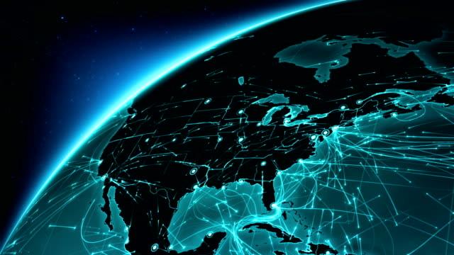 stockvideo's en b-roll-footage met verbindingen van de aarde. noord-amerika-europa. antenne, maritieme, gemalen routes/landsgrenzen. - roadmap
