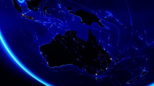 Earth connections. Oceania. Aerial, maritime, ground routes and country borders. video