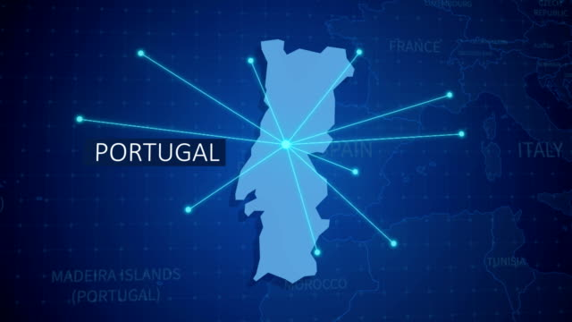 vídeos de stock e filmes b-roll de earth connections. portugal map. aerial, maritime, ground routes and country borders - portugal map
