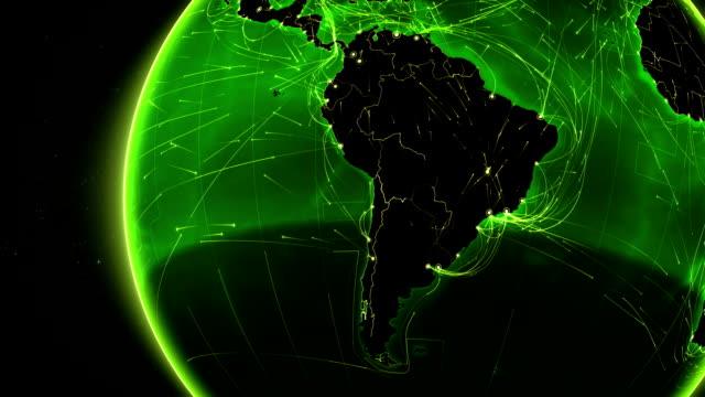 vídeos de stock, filmes e b-roll de terra conexões. américa do sul. aéreo, marítimo e terrestre rotas/país das fronteiras. - brazil map
