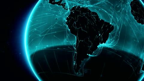 terra connessioni. sud america. veduta aerea e marittima, terreno rotte/paese delle frontiere. - america latina video stock e b–roll