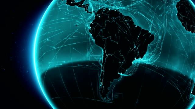 Conexiones a tierra. América del Sur. Aéreo, terrestre, marítimo las rutas/país de las fronteras. - vídeo