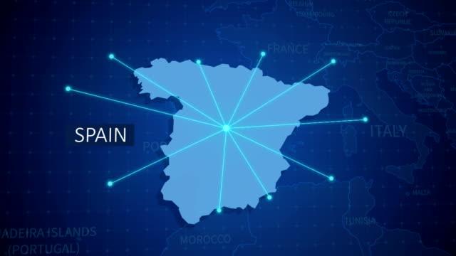 erdverbindungen. spanien landkarte. luft-, see-, boden strecken und landesgrenzen - spanien stock-videos und b-roll-filmmaterial