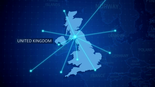Earth connections. UK Map. Aerial, maritime, ground routes and country borders Technology, World Map, Computer Network, Digital Display, Map, Country uk map stock videos & royalty-free footage