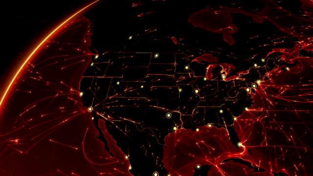 Earth connections. USA. Aerial, maritime, ground routes and country borders. Animation of the Earth with bright connections. 2 shots in 1 file. North America. Red. california map stock videos & royalty-free footage