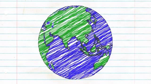 地球を描画紙漫画手描きアニメーション回転グローブ世界ペン ループ - くるくる回る点の映像素材/bロール