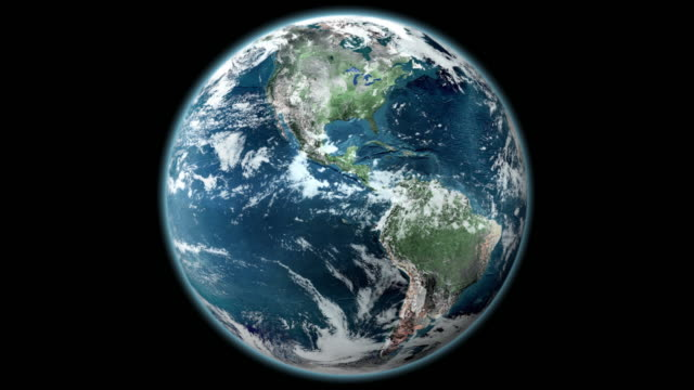 earth from space - rotating planet fully lit - world map stock videos & royalty-free footage