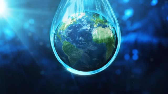 Earth globe in a water drop video