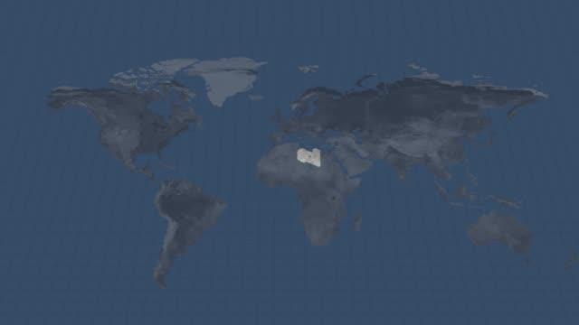 mappa del globo terrestre - mappa nazionale della libia con transizione del canale alfa all'inizio e alla fine - libia video stock e b–roll
