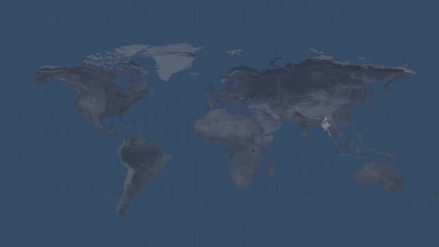 mappa del globo terrestre - mappa del paese del myanmar con transizione del canale alfa all'inizio e alla fine - naypyidaw video stock e b–roll