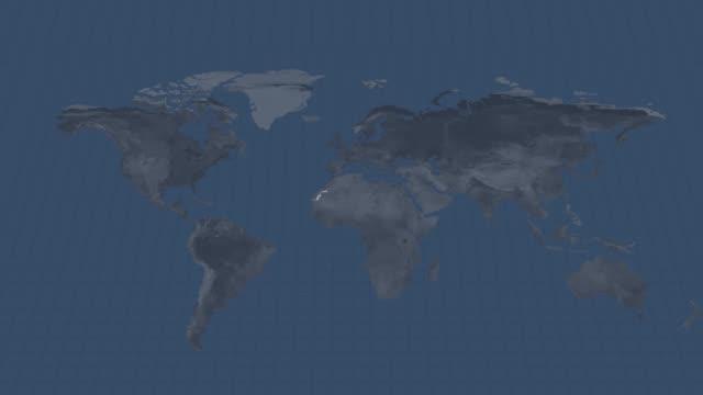 карта земного шара - западная сахара страна карта с альфа-канал переход на начало и конец - линия экватора стоковые видео и кадры b-roll