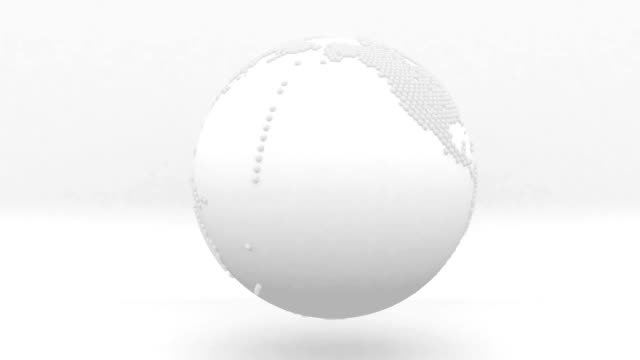 earth globe rotation white and grey design video