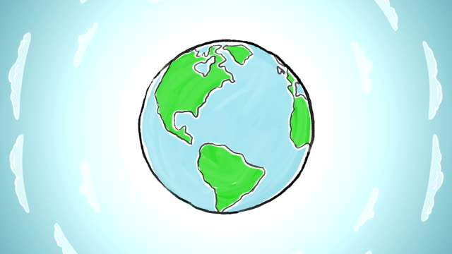 Earth globe spinning at sky background video