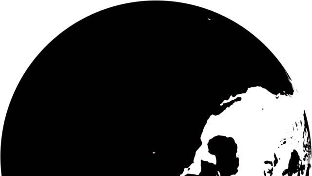 erde globus weiß kontinente und schwarzwasser - flat design videos stock-videos und b-roll-filmmaterial