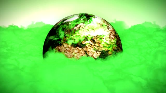 Earth in Green Pollution Clouds Animation, Rendering, Background, Loop video