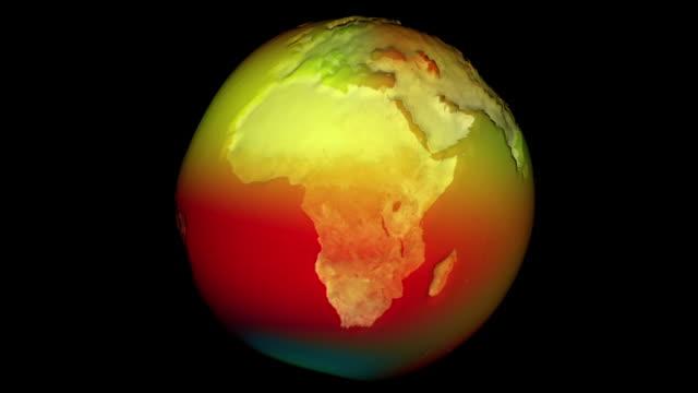 vidéos et rushes de boucle terrestre 3d montrant les zones où le changement climatique est en vigueur. la déformation de la terre entraînant une augmentation du changement - température