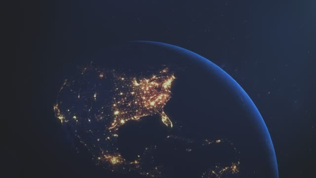 Earth Night USA stock video European Earth at Night City lights and sunrise America United States north america stock videos & royalty-free footage