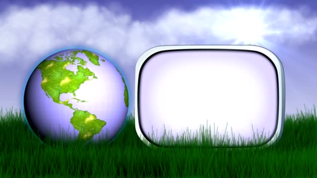 Earth on Grass and Empty Monitor, Animation, Rendering, Loop video