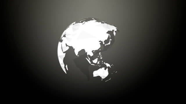 Earth planet rotation white geometric globe on black background