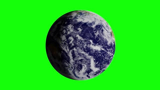 地球惑星(現実的なビュー)は、グリーンスクリーン(クロマキー)で孤立して360度回転します。3d アニメーション。ループ - くるくる回る点の映像素材/bロール