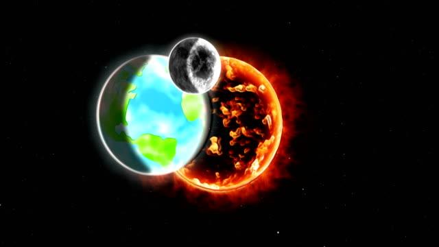 terra che ruota attorno al sole nel sistema solare - orbitare video stock e b–roll