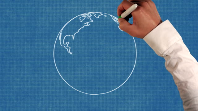 Earth Rotation Blueprint Paper Animation