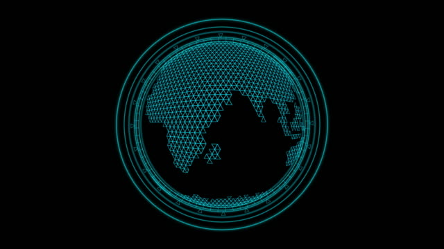 Earth rotation with serching icon for technology concept Polygon map on graphic earth rotation with searching symbol, concept for sci-fi technology ,Use transparent effect for layer , Uhd footage wire mesh stock videos & royalty-free footage