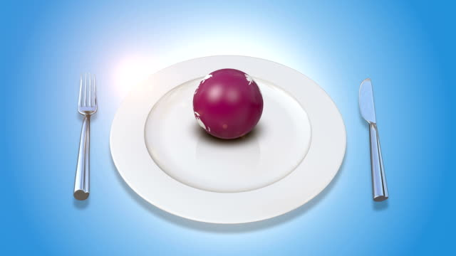 Earth Served On Plate With Fork And Knife