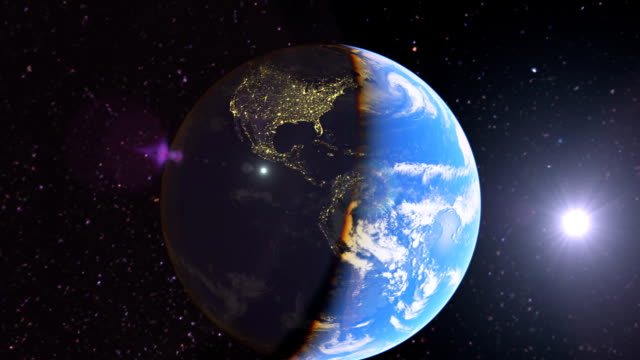 earth space zoom to brazil, night to day timelapse - geografia fisica video stock e b–roll