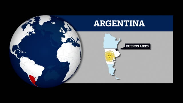 Earth Sphere Map and Argentina Country Map with National Flag video