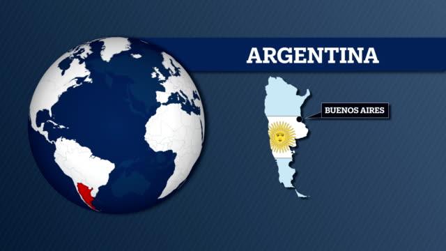 Mapa de la esfera y Argentina país con bandera nacional de la tierra - vídeo