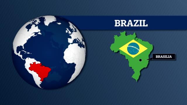 Mapa de esfera de terra e Brasil mapa do país com a bandeira nacional - vídeo