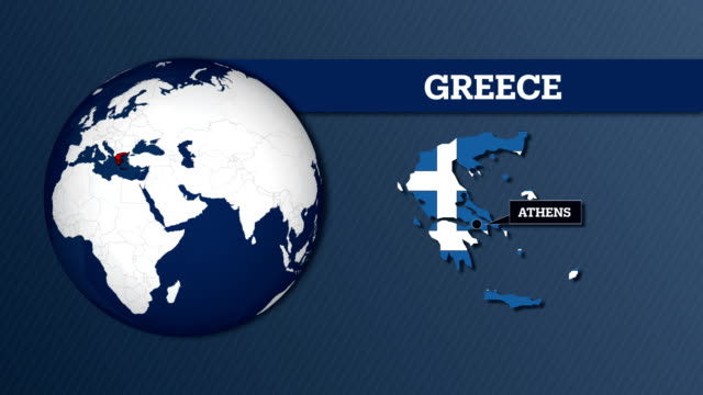 mapa kuli ziemi i mapa kraju grecji z flagą narodową - attyka grecja filmów i materiałów b-roll